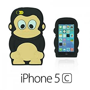 OnlineBestDigital - Monkey Style 3D Silicon Case for Apple iPhone 5C - Black