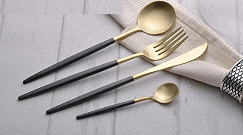 Black Dessert Knife (16 Pieces Dinner Tableware Knife Fork Soup Spoon Dessert Spoon Flatware - Retro Black Gold (Set of)