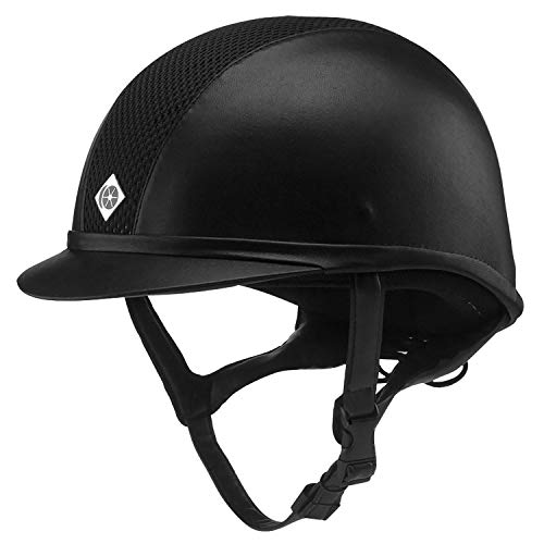 Charles Owen Leather Look AYR8 Riding Helmet - Size:07 Color:Black