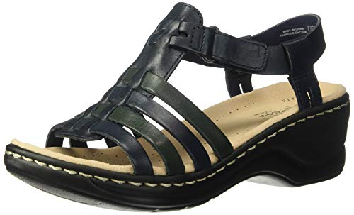 CLARKS Women's Lexi Bridge Sandal, Navy Leather, 100 W US