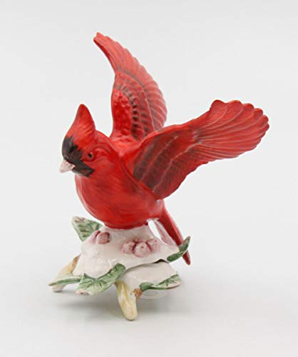 Cosmos Gifts Fine Ceramic Hand Painted Red Cardinal on Snow Holly Berry Figurine, 3-1/2