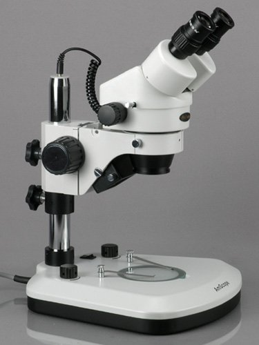 AmScope SM-1B-PL Professional Binocular Stereo Zoom Microscope, WH10x Eyepieces, 7X-45X Magnification, 0.7X-4.5X Zoom Objective, Upper and Lower LED Light, Pillar Stand, 110V-120V by AmScope (Image #2)