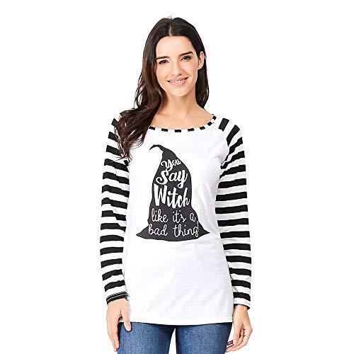 Sunmoot Womens Halloween Casual Long Sleeve Striped Print Bottom Blouse Top Shirt -