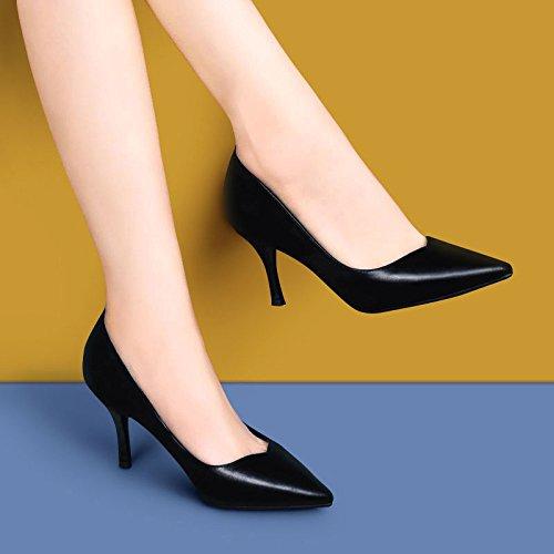 Talons 5 Sexy Hauts Cuir Chaussures Black Noir Soirée Discothèque Moyen UK 5 Mode en EU Chaussures 7cm 38 Talon Cour Femme Mariage Travail À De Sqw5I4C