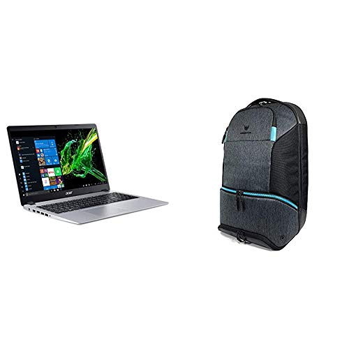Acer Aspire 5 Slim Laptop, 15.6 inches Full HD IPS Display, AMD Ryzen 3 3200U, Vega 3 Graphics, Silver with Acer Predator Gaming Hybrid Backpack