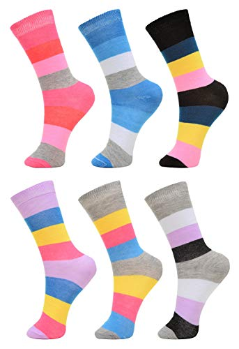 6 Pack of of Womens Girls Crew Socks Funny Novelty Colorful Cute Patterned Casual Socks, Wide Stripes