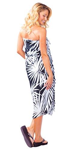 o para ba estampado de mujeres palmeras con negro 1 blanco Traje de Sarongs hawaiano Sarong Estilo Mundo qEzxnv457w