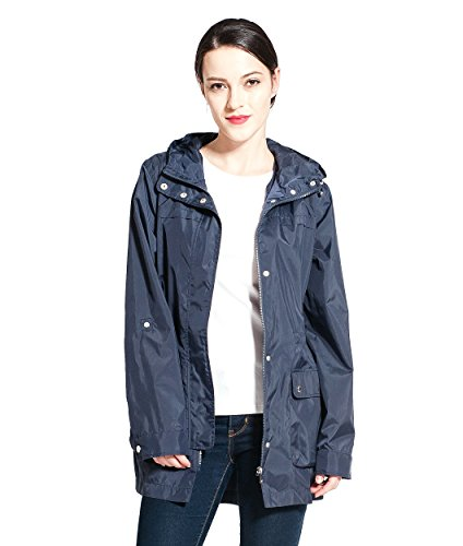 Rokka&Rolla Women's Ultra Lightweight Water-Resistant Quick Dry Mid-Length Rainproof Hooded Windbreaker Jacket Trench Coat Dark Navy