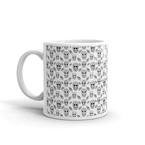 Seamless Pattern With Sugar Skulls And Roses Dead Day Dia De Los Muertos Coffee Mug 11 Oz White Ceramic -