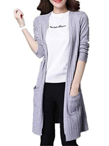 Colore A Puro Tasche Donne Giacca Aperto Squisito Casual Con Abbigliamento Primaverile Maniche Forcella Giubotto Maglia Moda Lunghe Grau Coat Elegante Autunno Pullover Relaxed Outwear FqxxdBw
