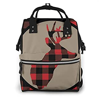 Red Black Buffalo Plaid Deer Head Diaper Bag Backpack Waterproof Multi-Function Baby Changing Bags Maternity Nappy Bags Durable Large Capacity for Mom Dad Travel Baby Care