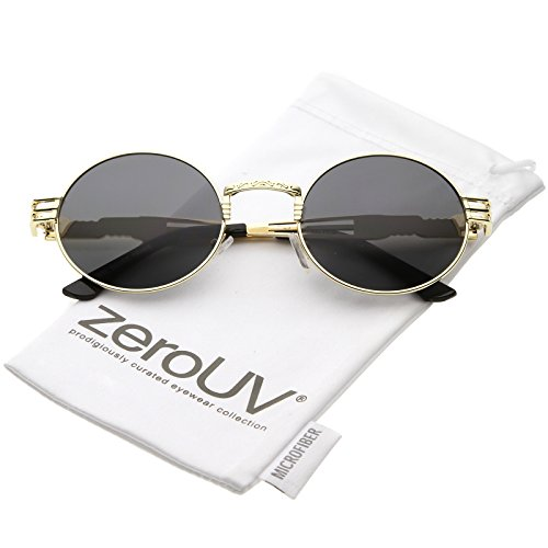 zeroUV - Unique Engraved Metal Steampunk Inspired Color Tinted Oval Sunglasses 60mm