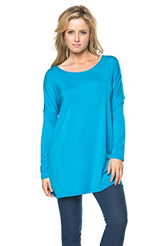Women's Long Sleeve Bamboo Top Loose Fit Tunic Medium (Medium Long Sleeve Top)