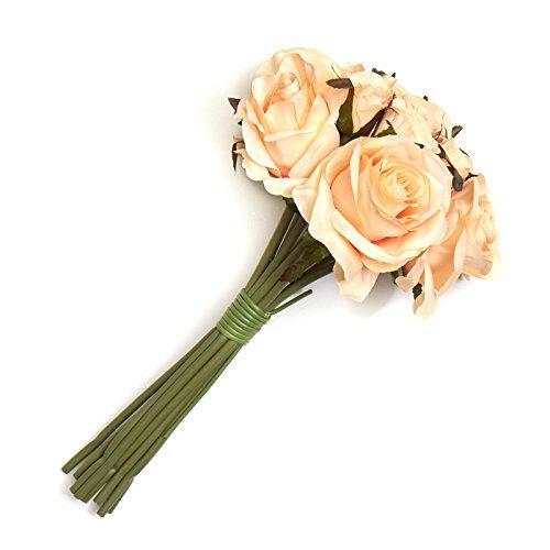 Factory Direct Craft Peach Artificial Silk Nosegay Rose Bunch Bouquet