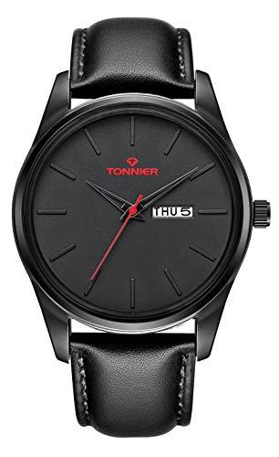 - Tonnier Genuine Leather Strap Men Watch Quartz Watch with Calendar&Week Black/Red
