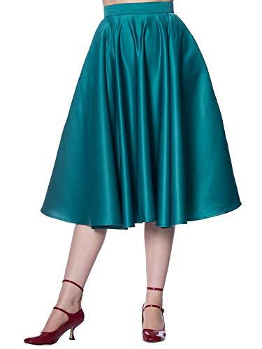 O Trapecio En Retro Corte green Para A Falda Teal Liso Banned Mujer CtRSwqC