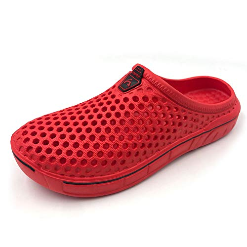 Amoji Unisex Garden Clogs Shoes Sandals House Slippers Room Shoes Indoor Outdoor Shower Shoes Sport Quick Dry Home Summer Breathable Light Walking Women Men Ladies AM1761 Red 10 Women / 8.5 Men