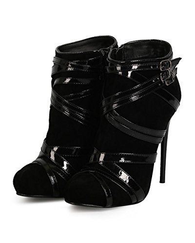 Liliana Ci67 Donna Suede Criss Cross Wrap Strap Zip Stiletto Bootie - Nero In Finta Pelle Scamosciata