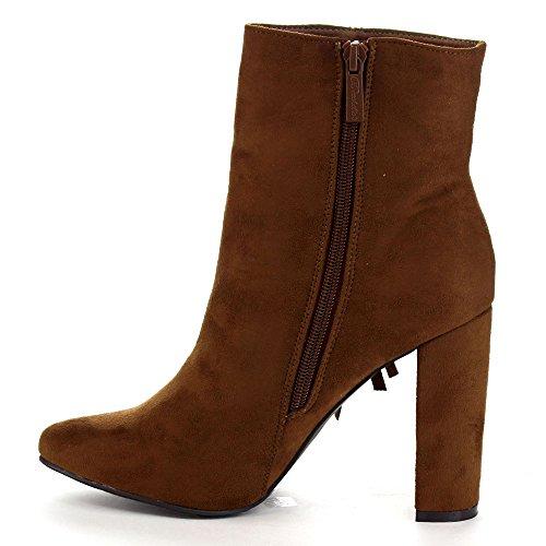 Breckelles Lisa-12 Stivaletti Alti Alla Caviglia Con Tacco Alto E Frange Eleganti, Colore: Marrone Chiaro, Taglia: 6