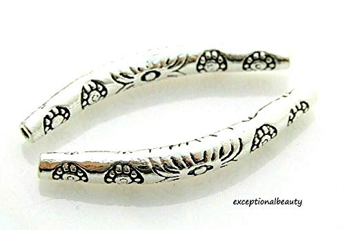 - 10 Tibetan Antiqued Silver 35mm Thin Long Curved Tube Spacer Carved Flower Beads