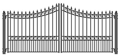 ALEKO Style Iron Wrought Gate 12' Driveway Gates Ornamental Dual Swing Gates 12'