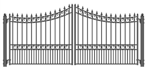 ALEKO Style Iron Wrought Gate 12' Driveway Gates Ornamental Dual Swing Gates (Ornamental Wrought Iron Gates)