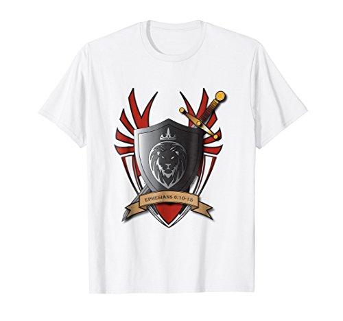Mens Eph 6:10 Christian T Shirt Armor of God Christian T shirt XL White