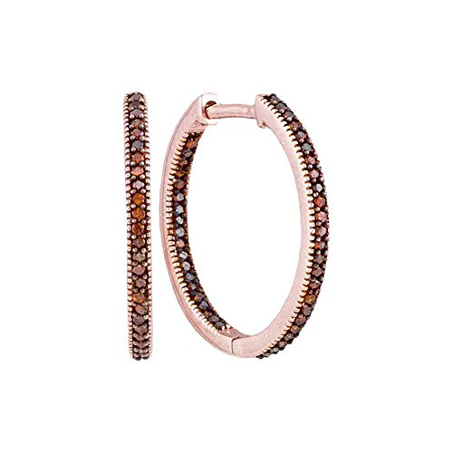 10K Rose Gold In out Hoop Channel Set Chocolate Brown Diamond Earrings Approx. 3 4 Diameter 1 4 cttw.
