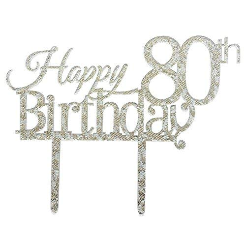 Glitter Silver Acrylic Happy 80th Birthday Cake Topper, 80 Birthday Party Cupcake Topper Decoration (80, Silver)