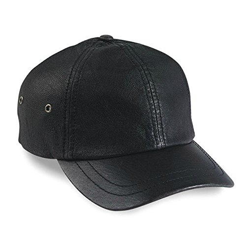 Stonewashed Leather Baseball Cap Black