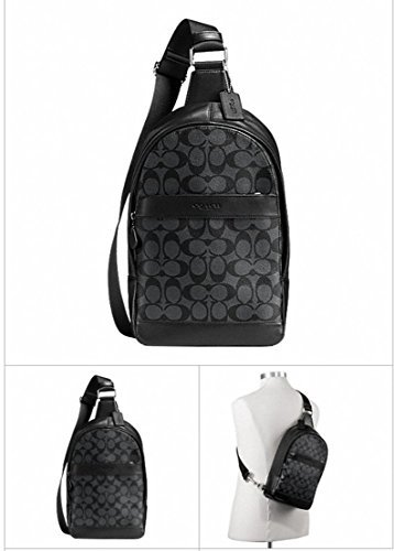 Coach Men's Signature PVC Charles Pack Charcoal/Black