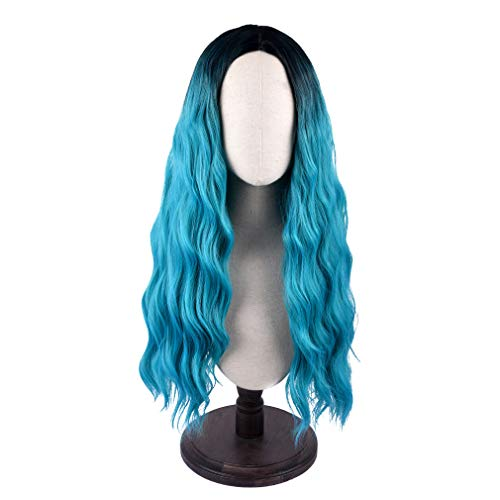 SEIKEA Women Color Wig Long Curly Hair Ombre with Root Girl Cosplay Costume Heat Resistant Synthetic Hairpiece - Black -