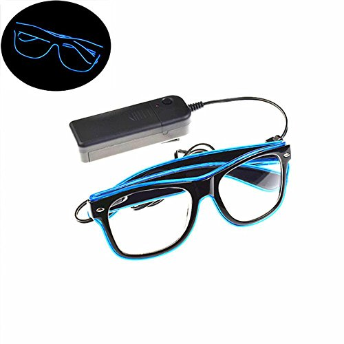 Pawaca EL Wire Glasses, LED Light Up Bright Glasses with Flashing Multicolor Frame for Halloween Christmas Birthday Party Gift (Blue)