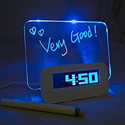 Sinohome Alarm Clock Memo Board Creative with Highlighter - Wake Up and Remember (USB Hub, Blue)