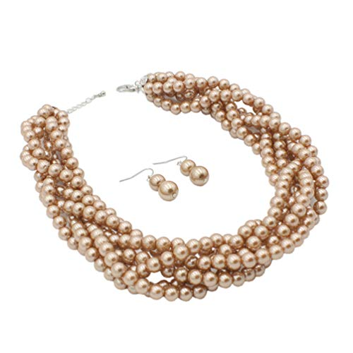 and Faux Pearls Beads Cluster Choker Necklace and Earrings Set (Coffee) ()