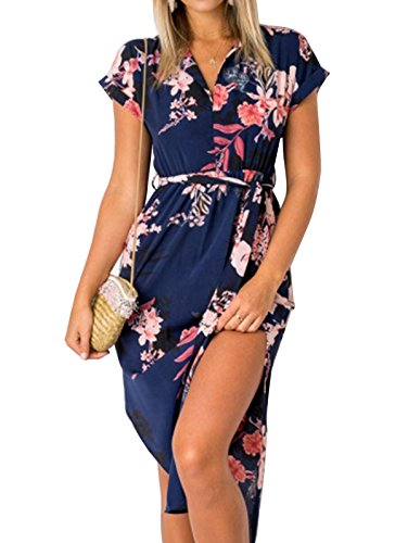(TEMOFON Womens Dresses Summer Casual Floral Geometric Pattern Short Sleeve Midi V-Neck Party Dress with Belt Blue S)
