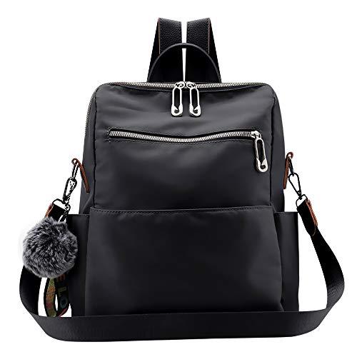 (Women Backpack Purse Waterproof Nylon Anti-theft Rucksack Lightweight Shoulder Bag Ladies Travel bags (Fashion Black))