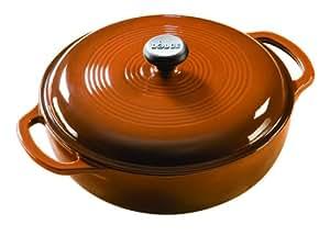 Lodge Enameled Cast-Iron 3-Quart Dutch Oven, Cafe Brown