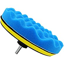 Qillu 10 Pcs Sponge Polishing Buffing Waxing Pad Kit for Car Polisher Buffer With Drill Adapter (6inch)