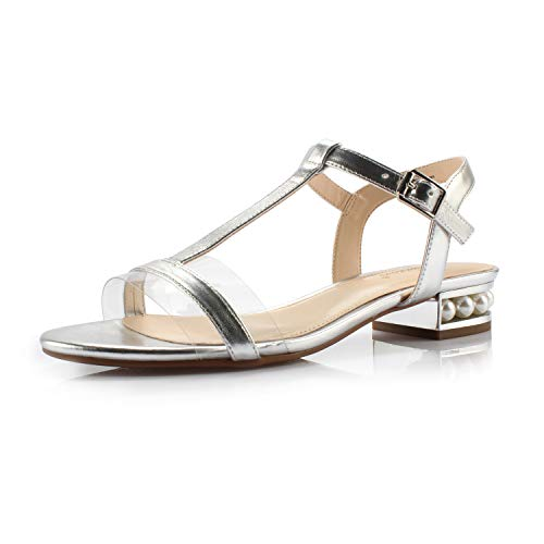 DUNION Women's Candy Pearl Embellished Low Block Heel Sandal Wedding Office Party Daily Comfort Dress Shoe,Silver,8 M US