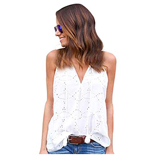 Women Tank Tops Sleeveless Vest,Vanvler Ladies { Cotton Blouse } Casual Solid T-Shirt (M, White)