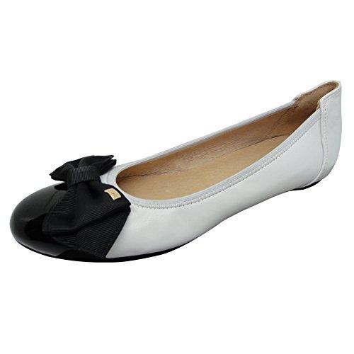 Damen Fashion Ballerinas Flache Schuhe Leder| Lackleder Beige Weiß Schwarz 37 - 41 6192-100 (Bitte achten Sie darauf, dem linken Bild zu folgen, um die Fußlänge zu bestimmen) Weiß
