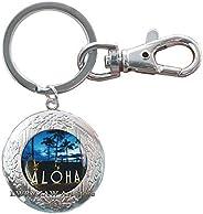Aloha Key Ring, Hawaii Jewelry, Aloha Hawaiian Locket Keychain,Hawaiian Tropical Hawaiian Key Ring, Summer Loc
