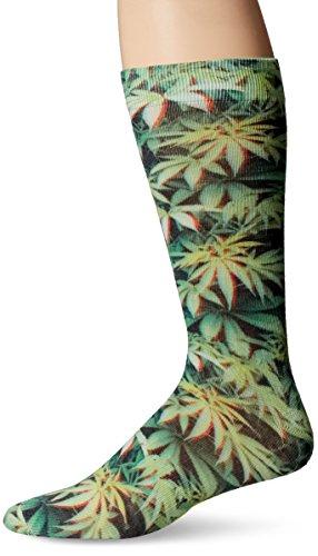 (K. Bell Men's Novelty Crew Socks with 3-D Glasses, Leaves (Green) Shoe Size: 6-12)