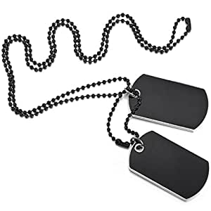 MOWOM Black 2PCS Alloy Enamel Pendant Necklace Army Name Double Dog Tag