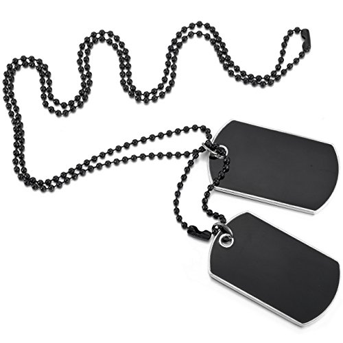 (MOWOM Black 2PCS Alloy Enamel Pendant Necklace Army Name Double Dog Tag )