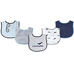 Luvable Friends 5 Piece Fun Boy\'s Drooler Bibs, Airplane