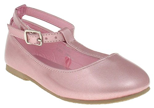 Capelli New York Laminated Metallic With T-strap and Ankle Strap Toddler Girls Flat Light Pink 9