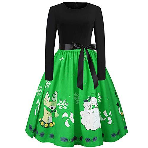 Vintage Tea Hepburn Mini Dress Women Christmas Elegant Xmas Print Ball Gown