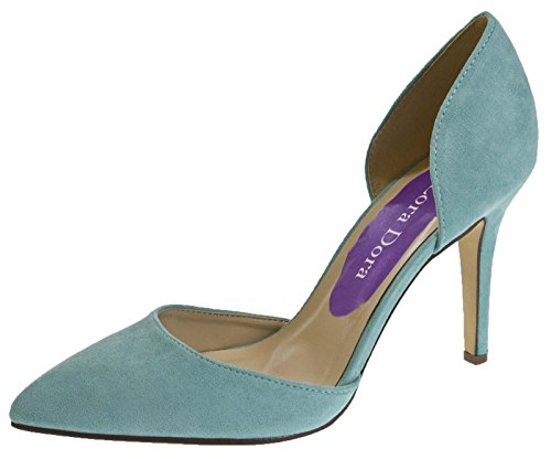 Lora Dora Womens Faux Suede Open Sided High Heels Light Blue